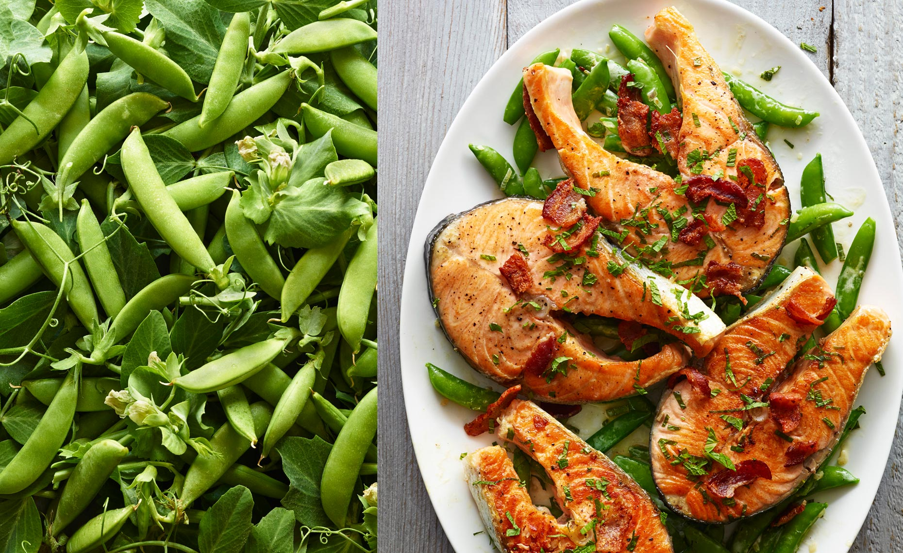 Snap Peas & Salmon Steaks